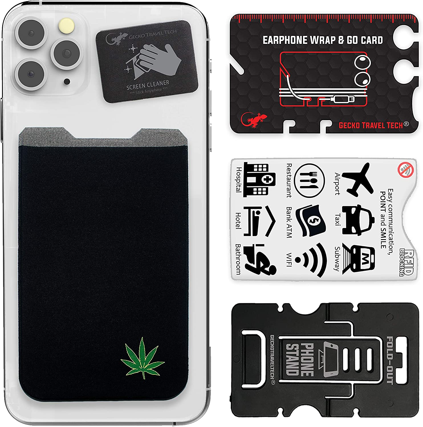 Phone Wallet - Adhesive Card Holder - Cell Phone Pouch - Stick on Lycra Pocket by Gecko - Carry Credit Cards and Cash (Weed)