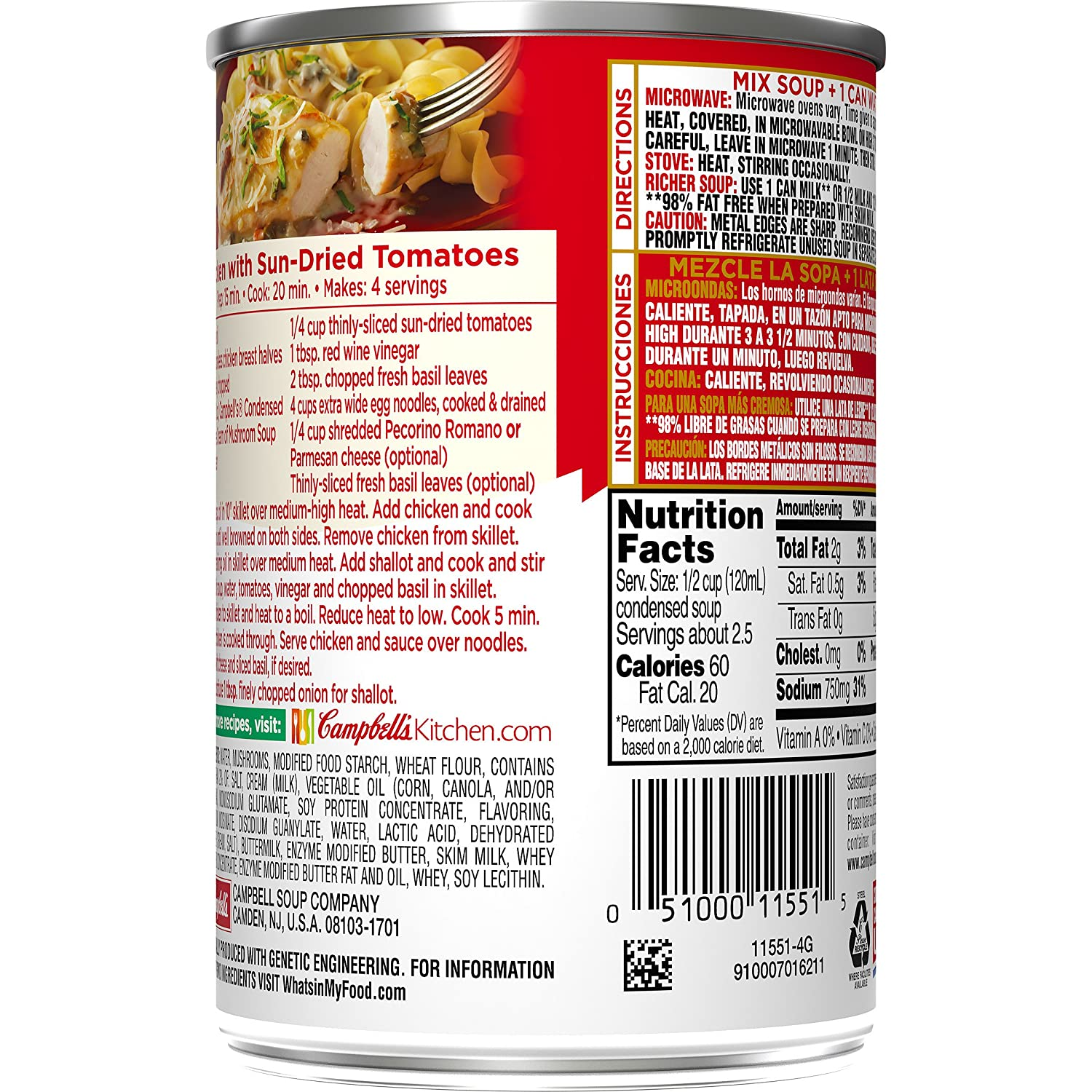 Campbells Condensed 98% Fat Free Cream of Mushroom Soup, 10.5 oz. Can