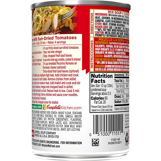 Campbells Condensed 98% Fat Free Cream of Mushroom Soup, 10.5 oz. Can (Pack of 12)