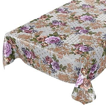 ANRO - Mantel de Hule, diseño de Flores, Color Dorado y Plateado, Toalla, Schnittkante, 100 x 140cm: Amazon.es: Hogar