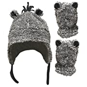 N'Ice Caps Little Boys and Baby Sherpa Lined Fleece Hat Mitten Set with Ears (6-15 Months, Grey Mix Infant)