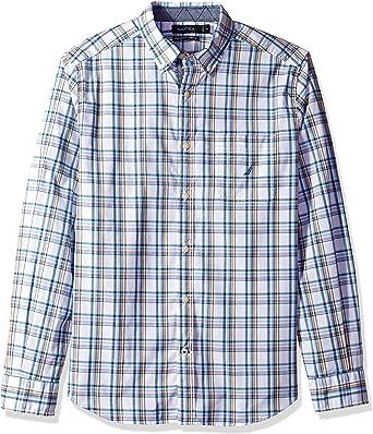 Nautica Camisa de Manga Larga para Hombre, con Botones, Informal, a Cuadros: Amazon.es: Ropa y accesorios