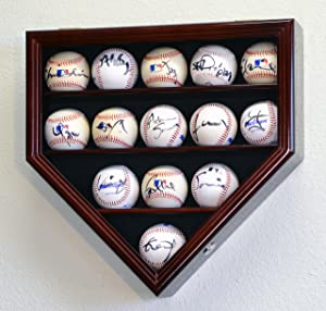 14 Baseball Ball Display Case Cabinet Holder Wall Rack Home Plate Shaped w/98% UV Protection- Lockable -Cherry