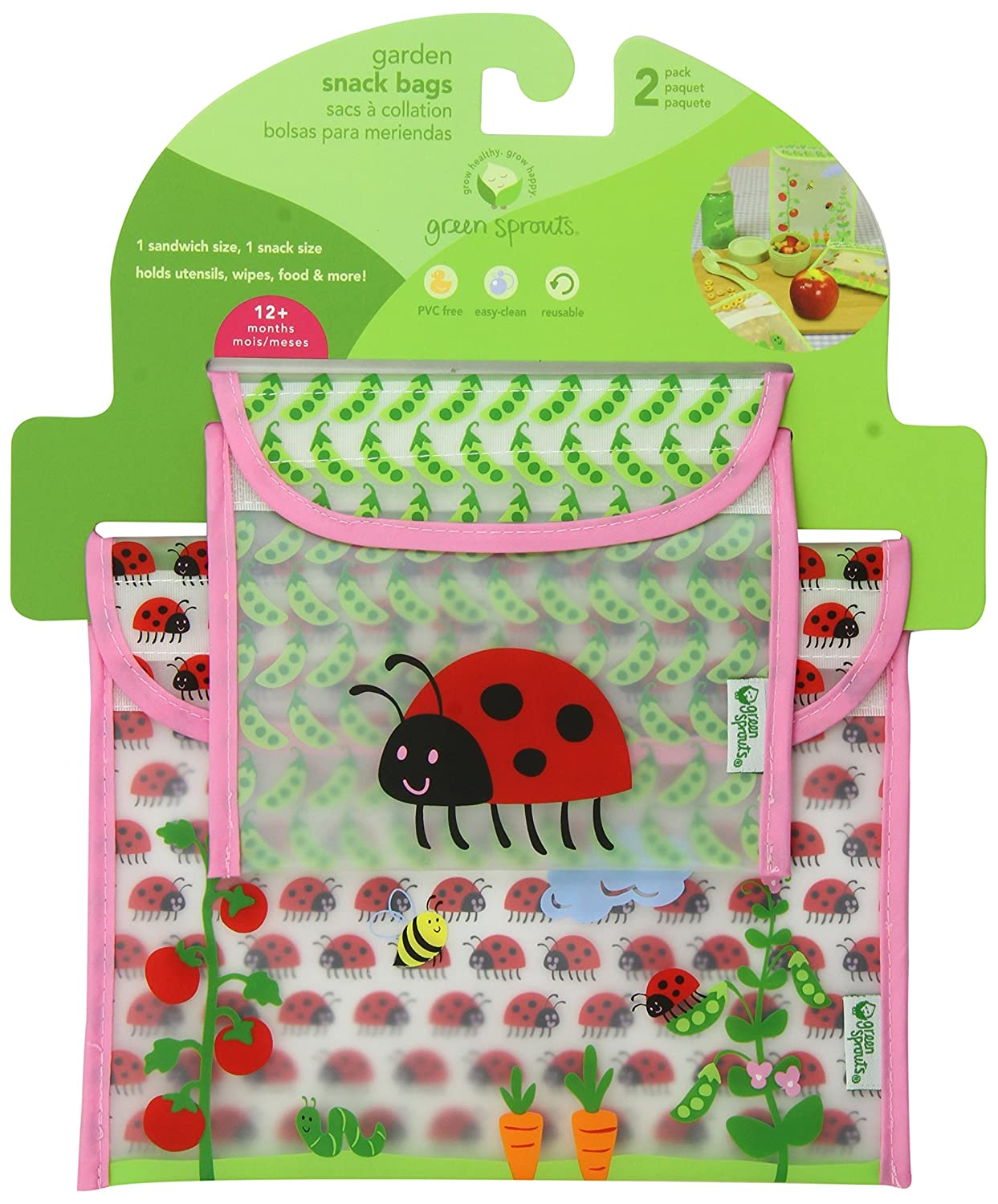 green sprouts Garden Sandwich and Snack Bag, Pink Ladybug, 3 Months, 2-Count (Discontinued...