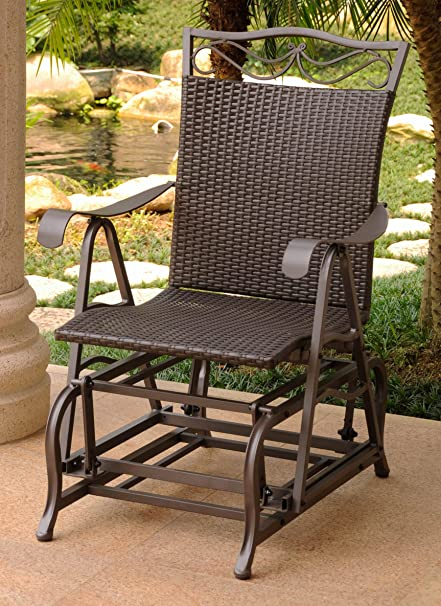 amazon com international caravan patio glider chair in chocolate rh amazon com patio glider chairs metal patio glider chair