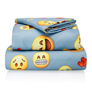 "Chital Full Bed Sheets for Boys | 4 Pc Colorful Kids Bedding Set | Light Blue Emoji Print | Durable Super-Soft, Double-Brushed Microfiber | 1 Flat & 1 Fitted Sheet, 2 Pillow Cases | 15"" Deep"