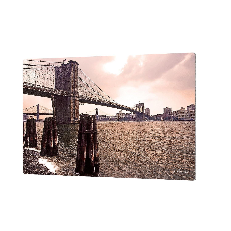 24 by 36 ArtWall Linda Parkers Brooklyn Bridge at Sunset Artmetalz Aluminum Print