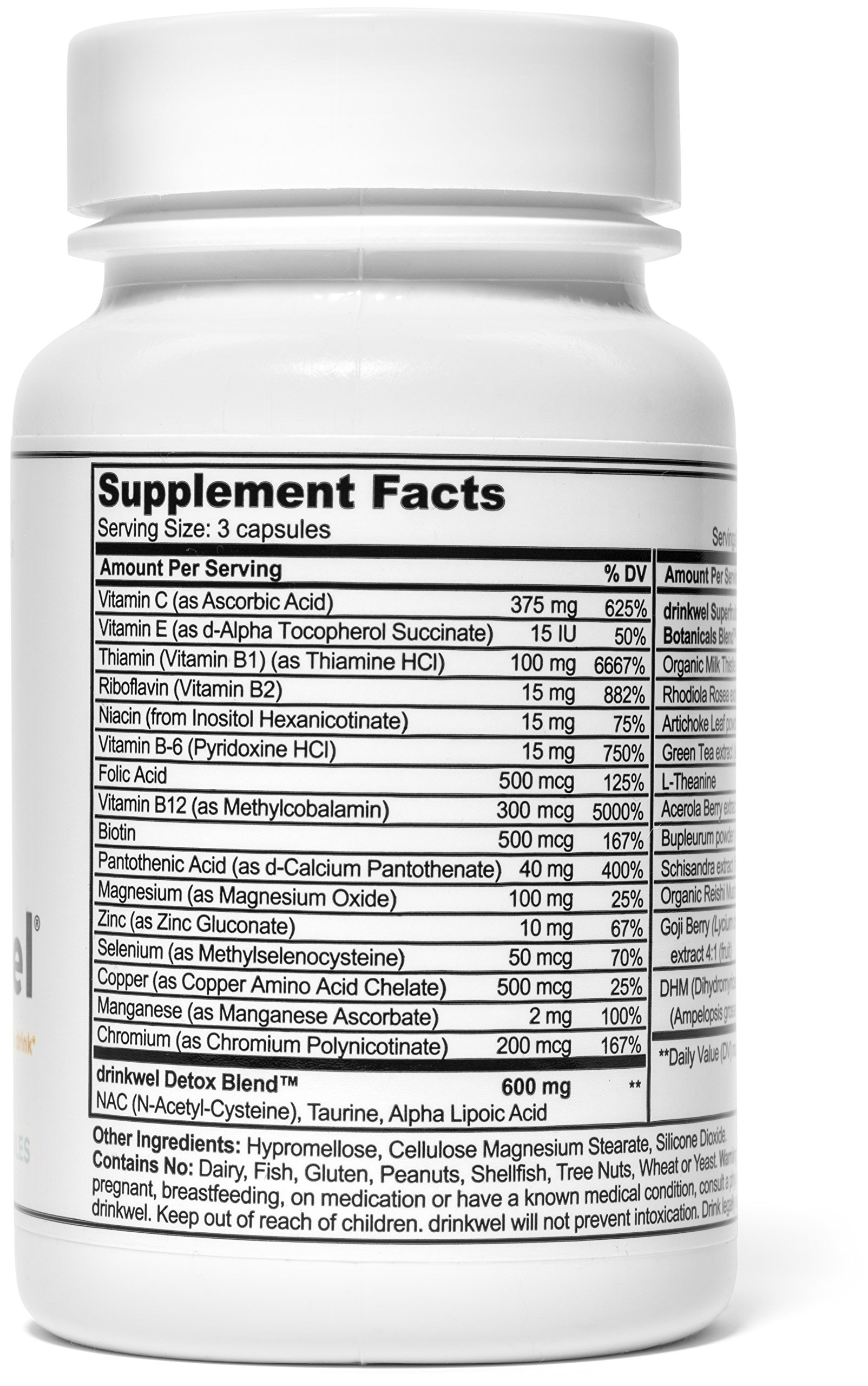 Drinkwel for Hangovers, Nutrient Replenishment & Liver Support (30 Vegetarian Capsules with Organic Milk Thistle, N-acetyl Cysteine, Alpha Lipoic Acid, and DHM) (Travel Size Bottle) by drinkwel (Image #3)