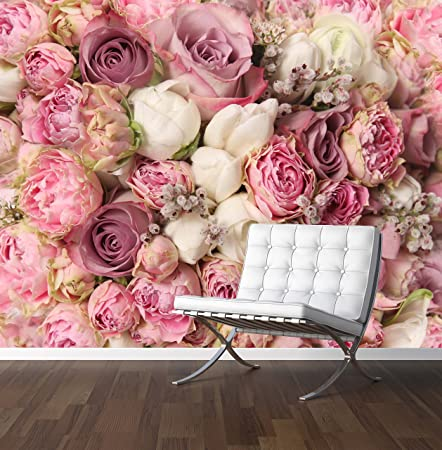 Pink Roses Wall Mural Photo Wallpaper Wedding Backdrop Xx Large 3000mm X 2400mm