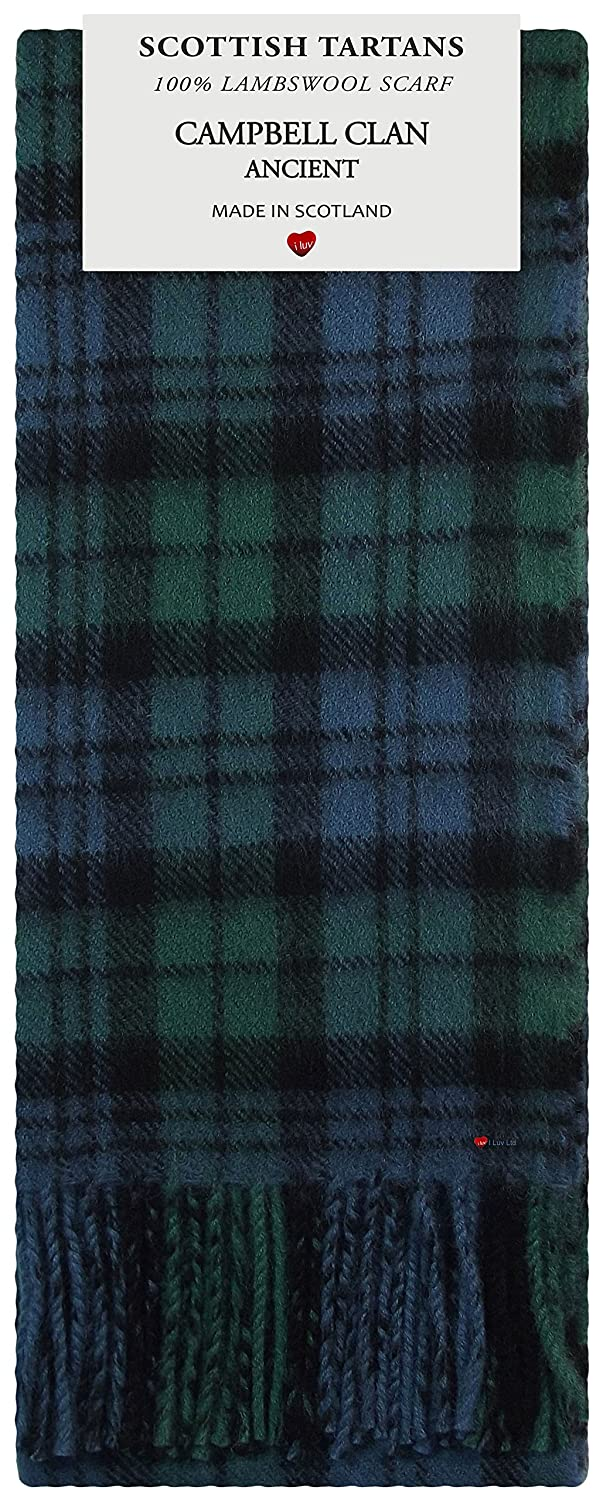 Campbell Clan Ancient Tartan Clan Fashion Scarf 100% Lambswool Made in Scotland I Luv Ltd