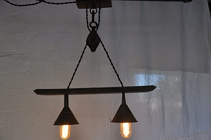 Amazon vintage barn pulley barrel stave chandelier handmade vintage barn pulley barrel stave chandelier aloadofball Image collections
