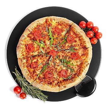 Kenley Piedra Refractaria Pizza para Horno Parrilla Barbacoa - Base Plato Redondo 38 cm de Cordierita con Cortapizzas - Hornear Pasteles Pizzas Pan con ...