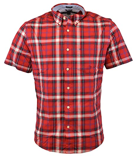 5111d170ef5 Tommy Hilfiger Mens Short Sleeve Classic Fit Button-Down Shirt (Apple Red