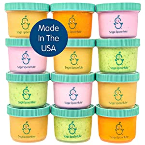 Sage Spoonfuls Big Batch Baby Food Storage Containers - 12-Pack of 4-Ounce Jars with Lids - Leakproof, Dishwasher/Freezer/Microwave-Safe, Made in the USA