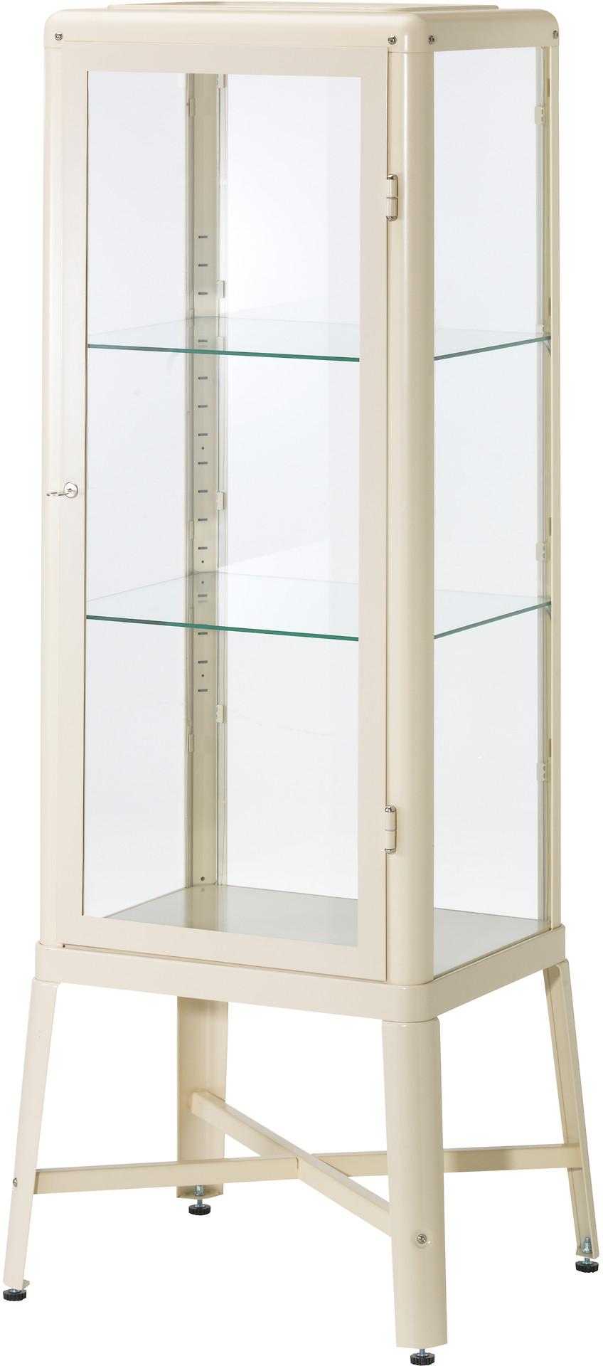 FABRIKÖR Glass-door cabinet - beige - IKEA
