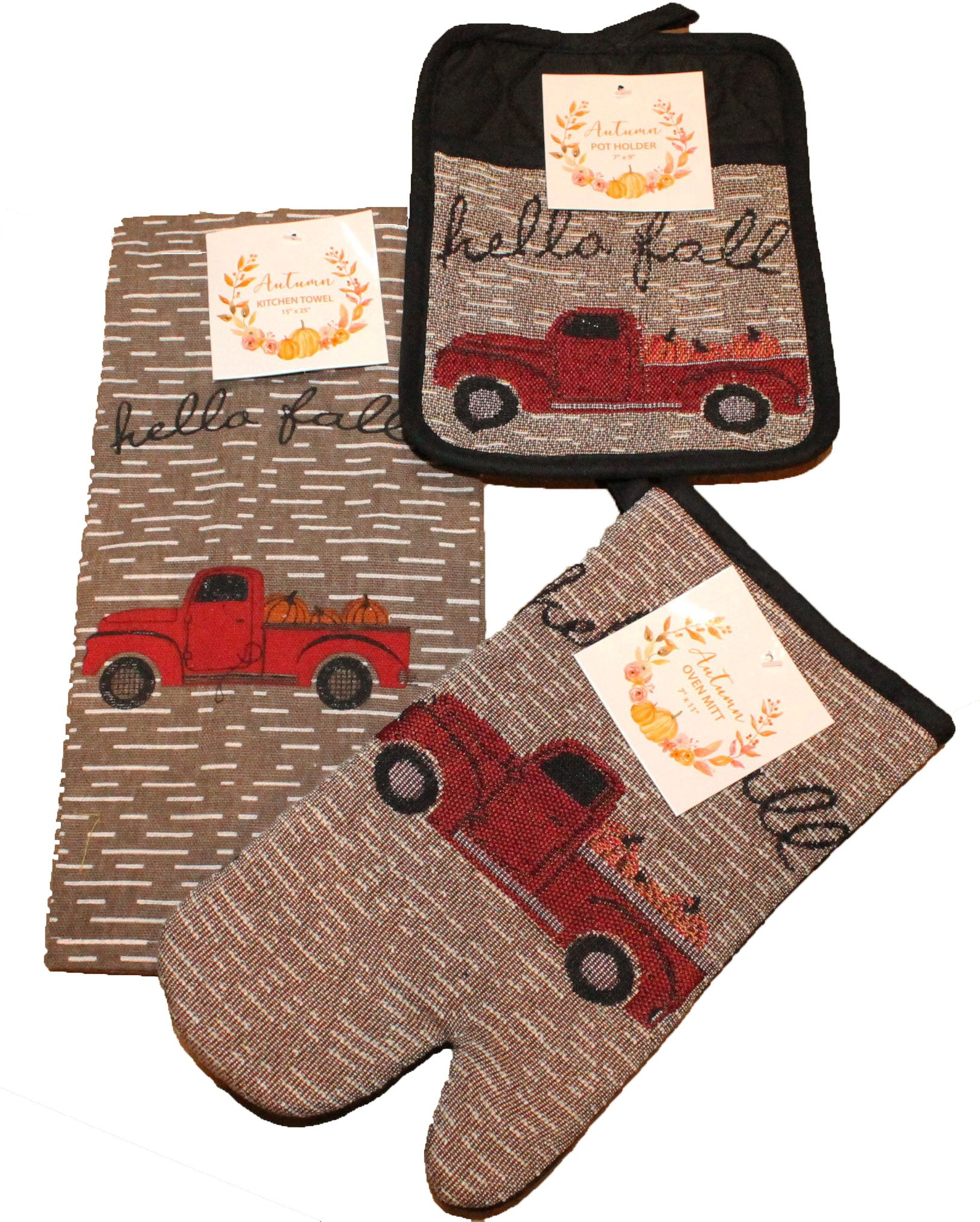 Twisted Anchor Trading Co 3 Pc Vintage Truck Fall Autumn Kitchen Towel Set - Includes Pot Holder, Fall Kitchen Towel, and Oven Mitt