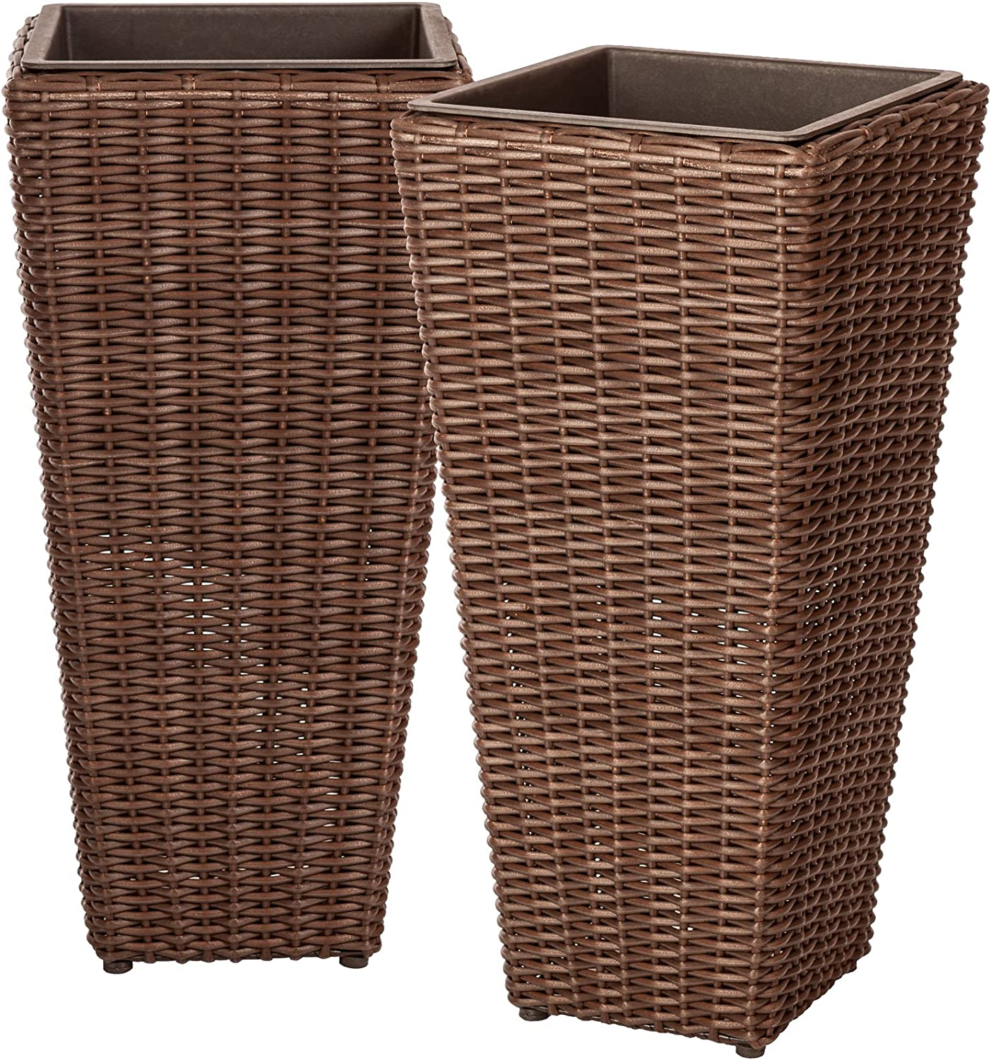 Patio Sense Alto Wicker Planter (2 Piece) Set with Liners | Tall Plant Decor Box for Outdoors
