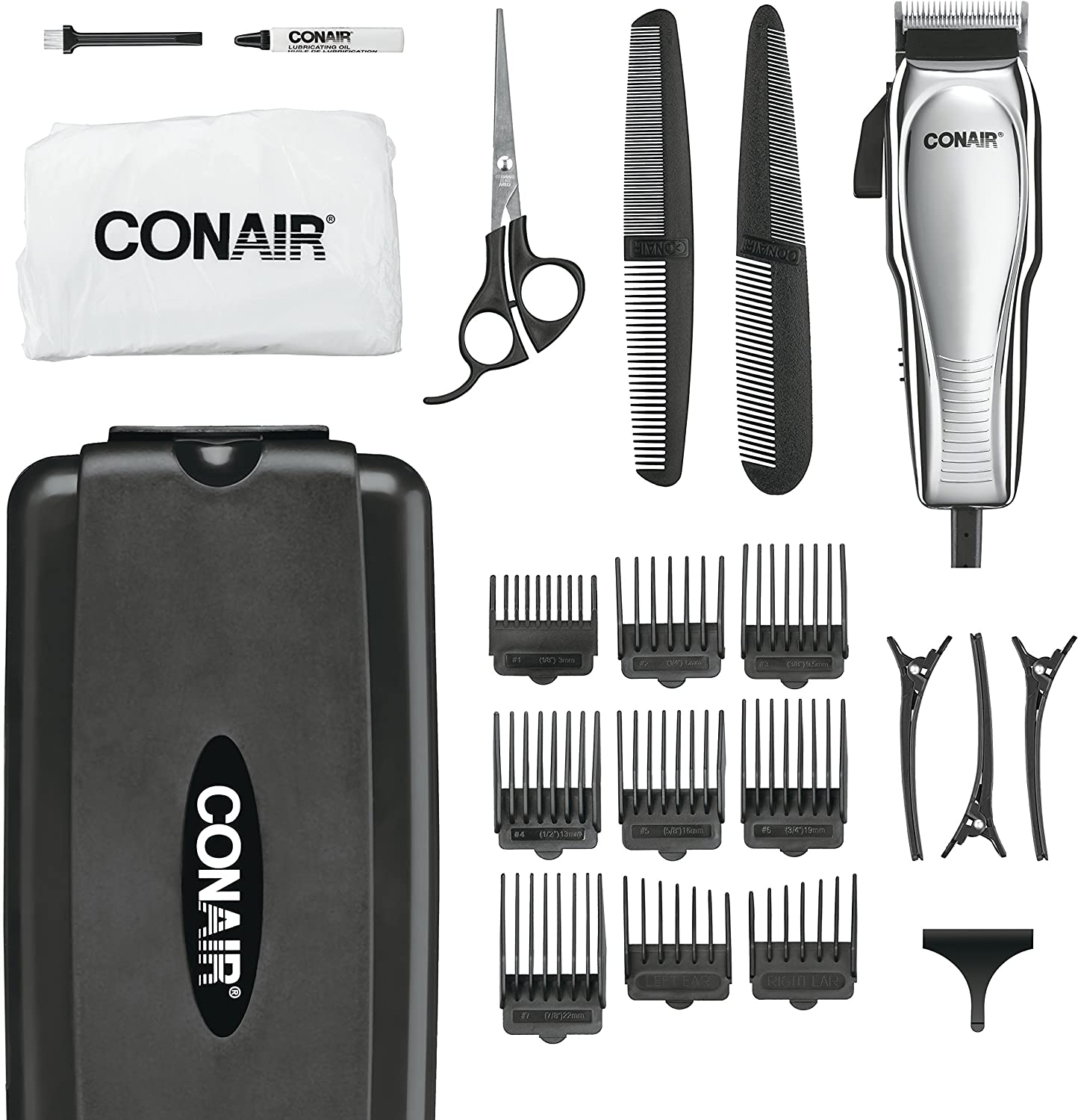 Conair Custom Cut 11-piece Haircut Kit; Home Hair Cutting Kit; Chrome