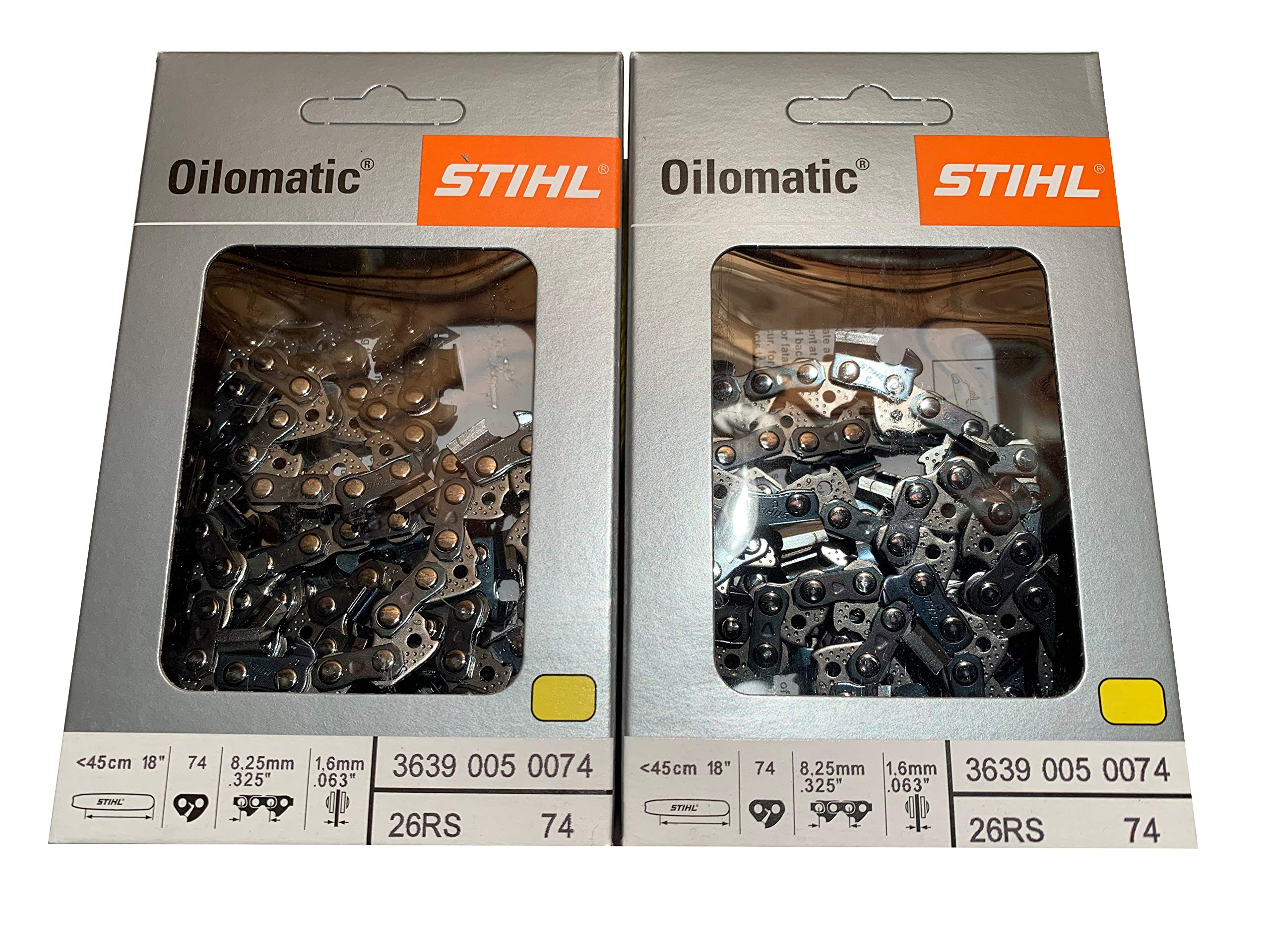 Stihl 26RS 74 Drive Links.325.063 Gauge, 18'', Rapid Super, 2 Packs, Professional Chainsaw Chain, 3639-005-0074