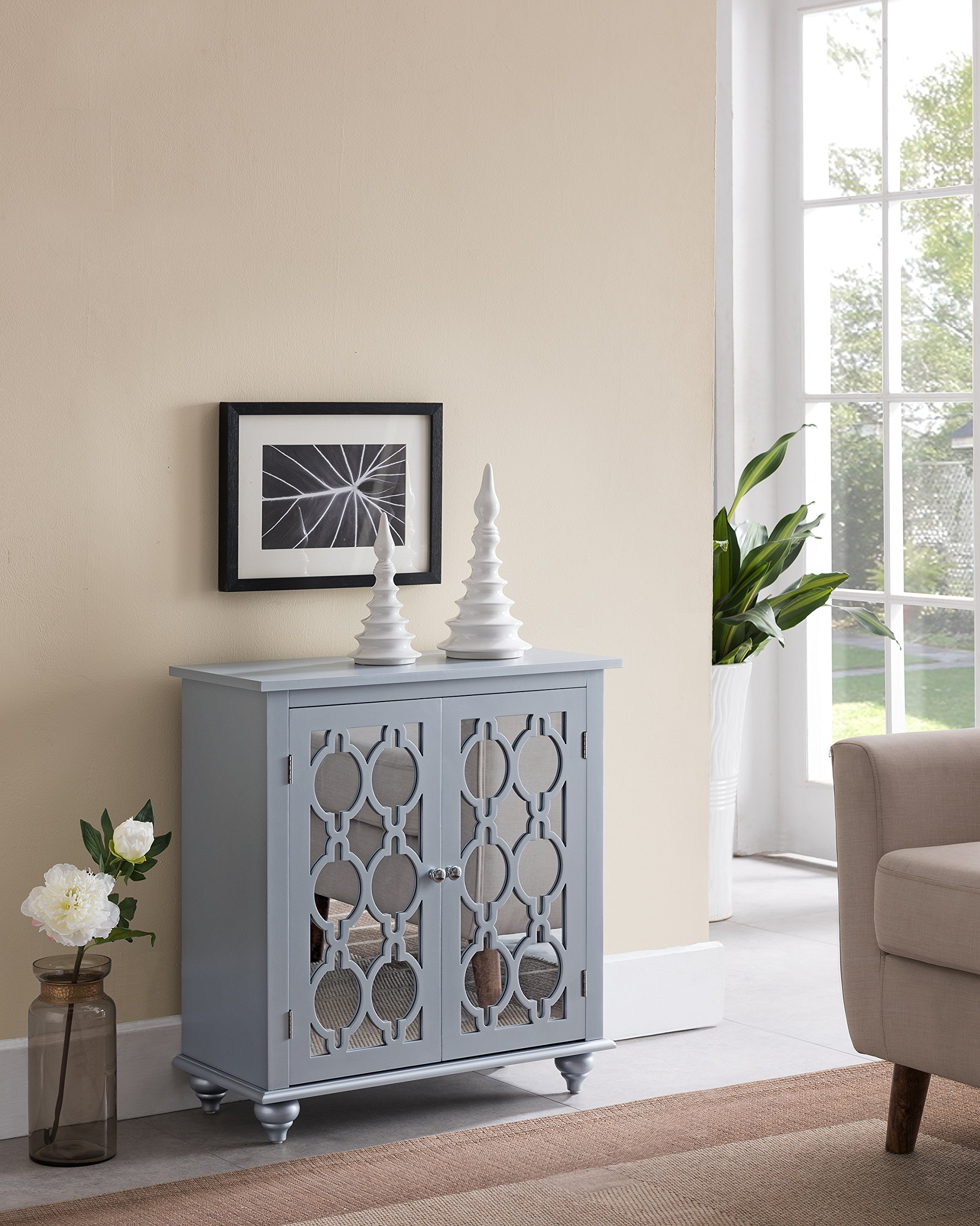 Kings Brand Furniture - Glenn 2-Door Accent Cabinet, Gray Silver