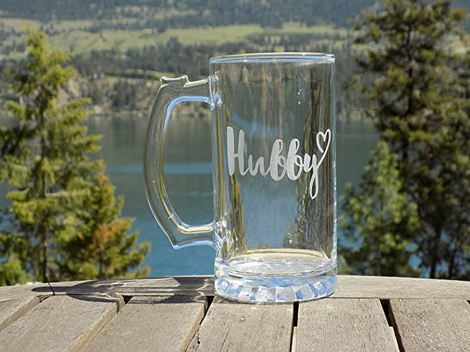Hubby Beer Glass Hubby Birthday Gift Ideas Etched Beer Mug For