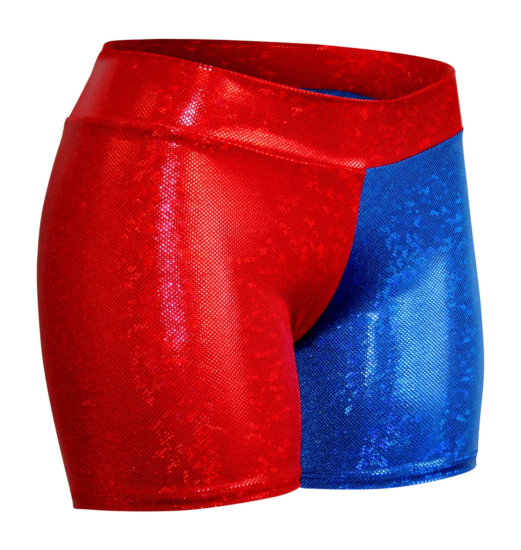 Dilly Duds Children's Red and Blue Holographic Spandex Shorts (X-Small, Red Blue)