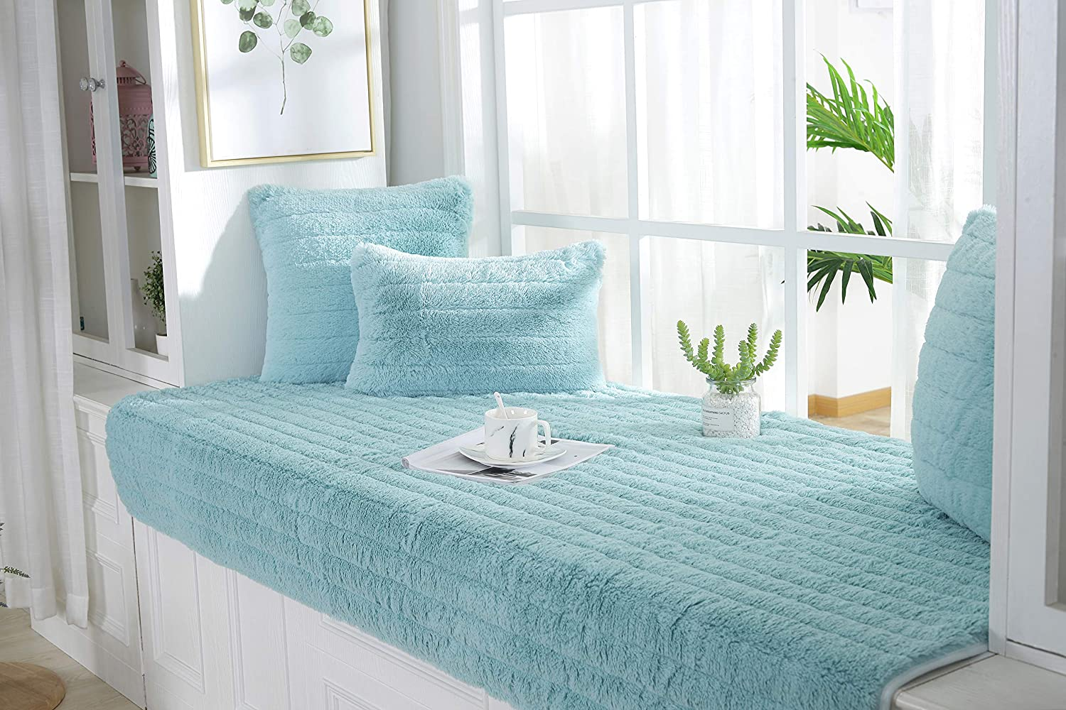 VersionA Solid Color Bay Window Cushion,Plush Thicked Window Bench mat,Balconies pad,Simple Machine Washable Window seat Cushions Indoor-A 45x45cm 18x18inch