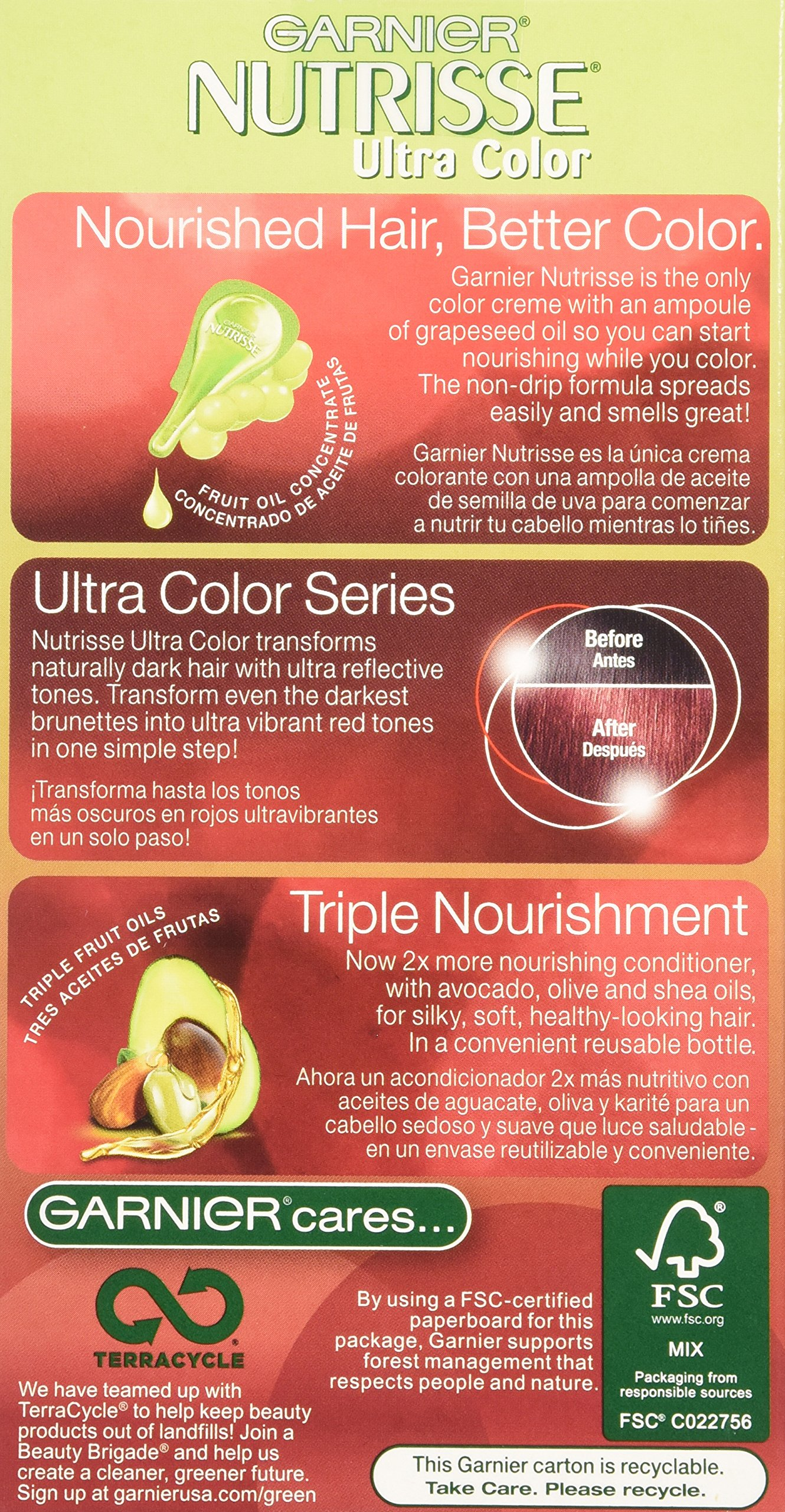 Garnier Nutrisse Ultra Color Nourishing Hair Color Creme, Light Intense Auburn, 3 Count  (Packaging May Vary) by Garnier (Image #4)