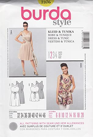 Burda Style Sewing Pattern 7376 for Dress & Tunic in Sizes 6 - 20
