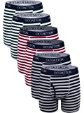 OCOATTON Men's Boxer Briefs Cotton Striped Underwear with Front Fly 6-Pack