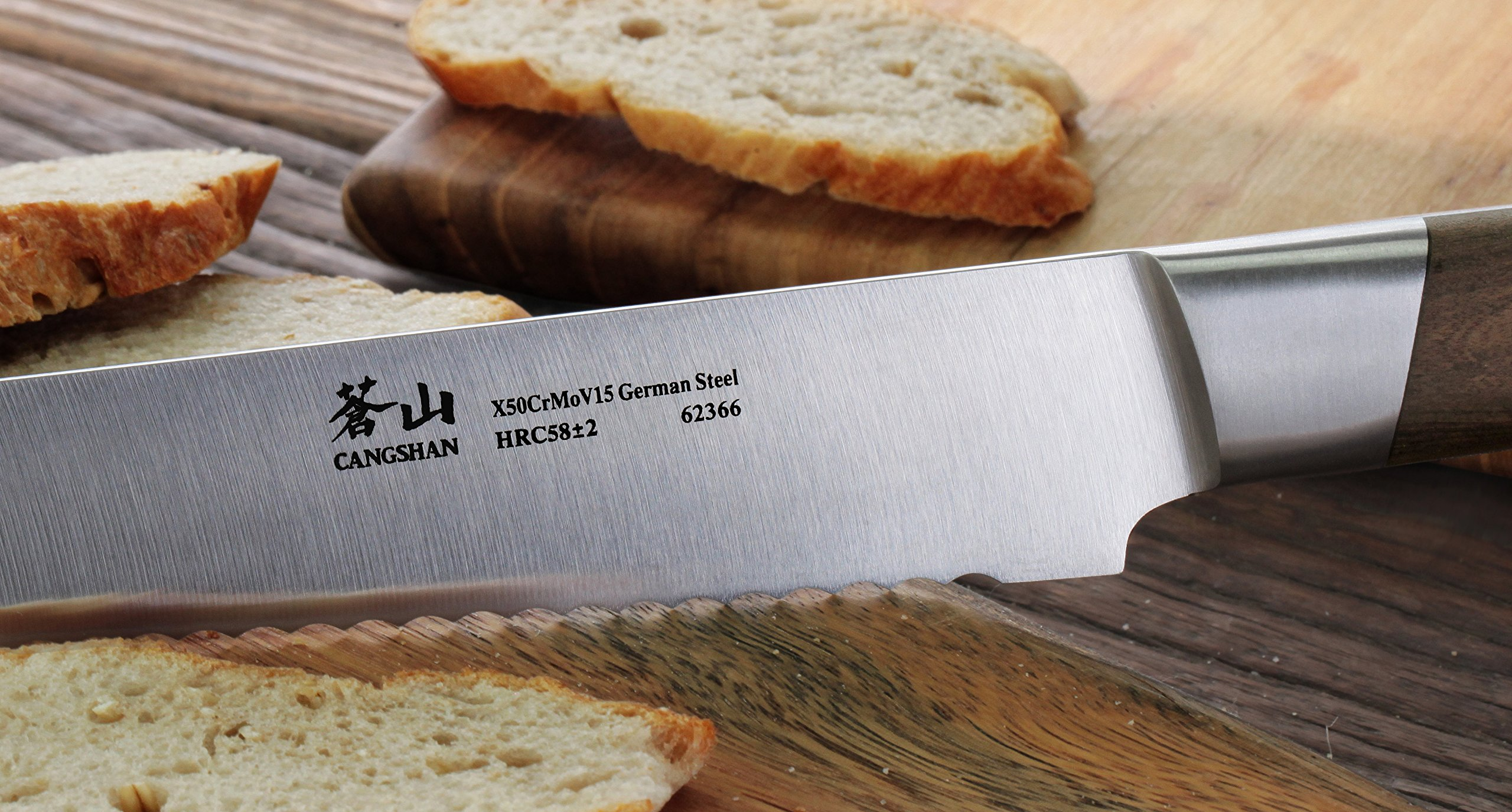Cangshan R Series 62649 German Steel Forged Bread Knife with Ashwood Sheath, 10.25-Inch 7 Unique patent pending design that focuses on rich ultra-dense African blackwood handle Full tang forged from x50cr15mov german steel with hrc 58 +/- 2 on the rockwell hardness scale 8 in. bread knife perfect for slicing through a types of bread