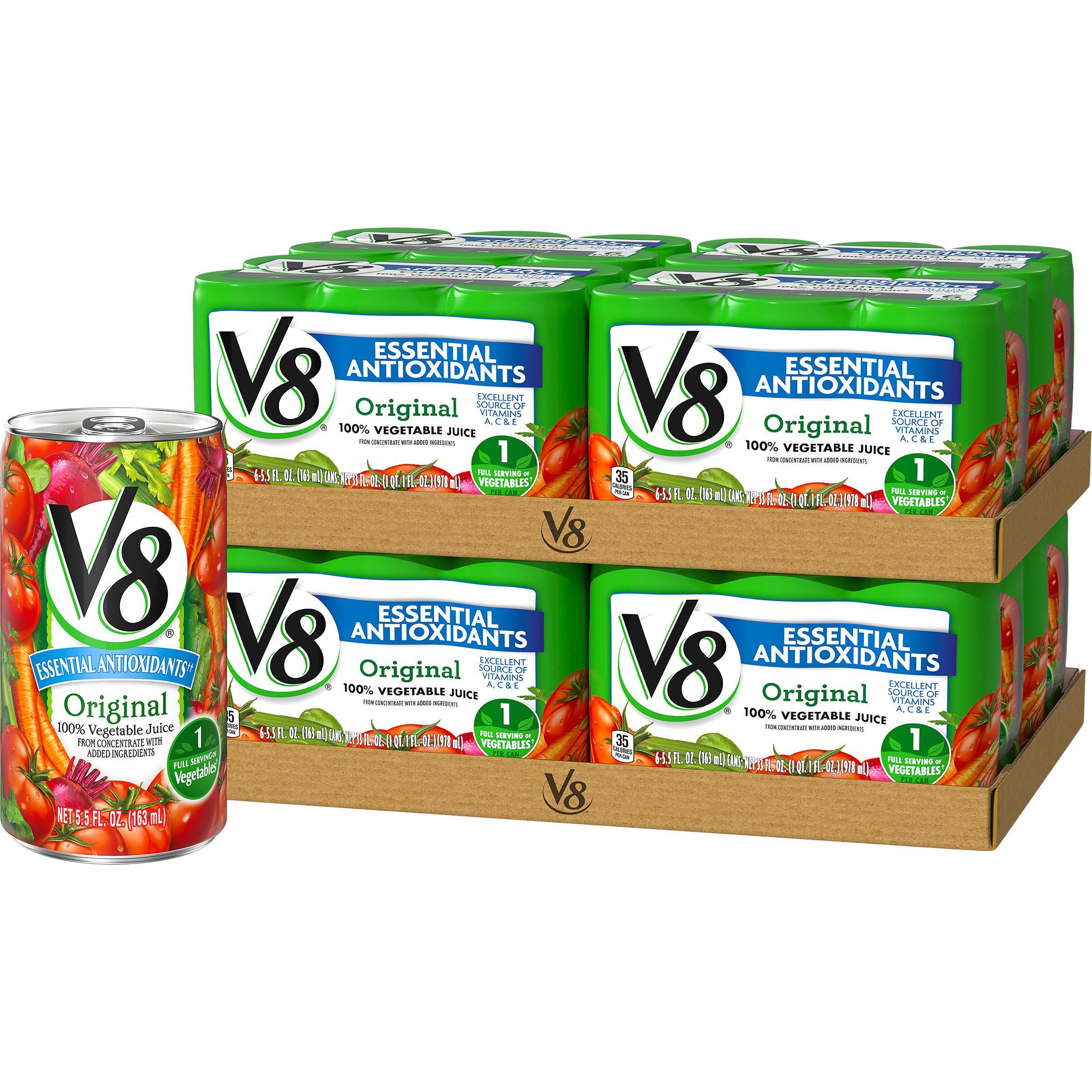 V8 Original Essential Antioxidants 100% Vegetable Juice, 5.5 oz. Can (8 packs of 6, Total of 48) by V8