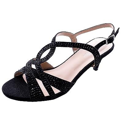 a0cf87a40 Sol Mia Wedding Shoes Comfortable Low Heel Dress Glitter Bridesmaid Prom  Designer Slingback Sandals, Black
