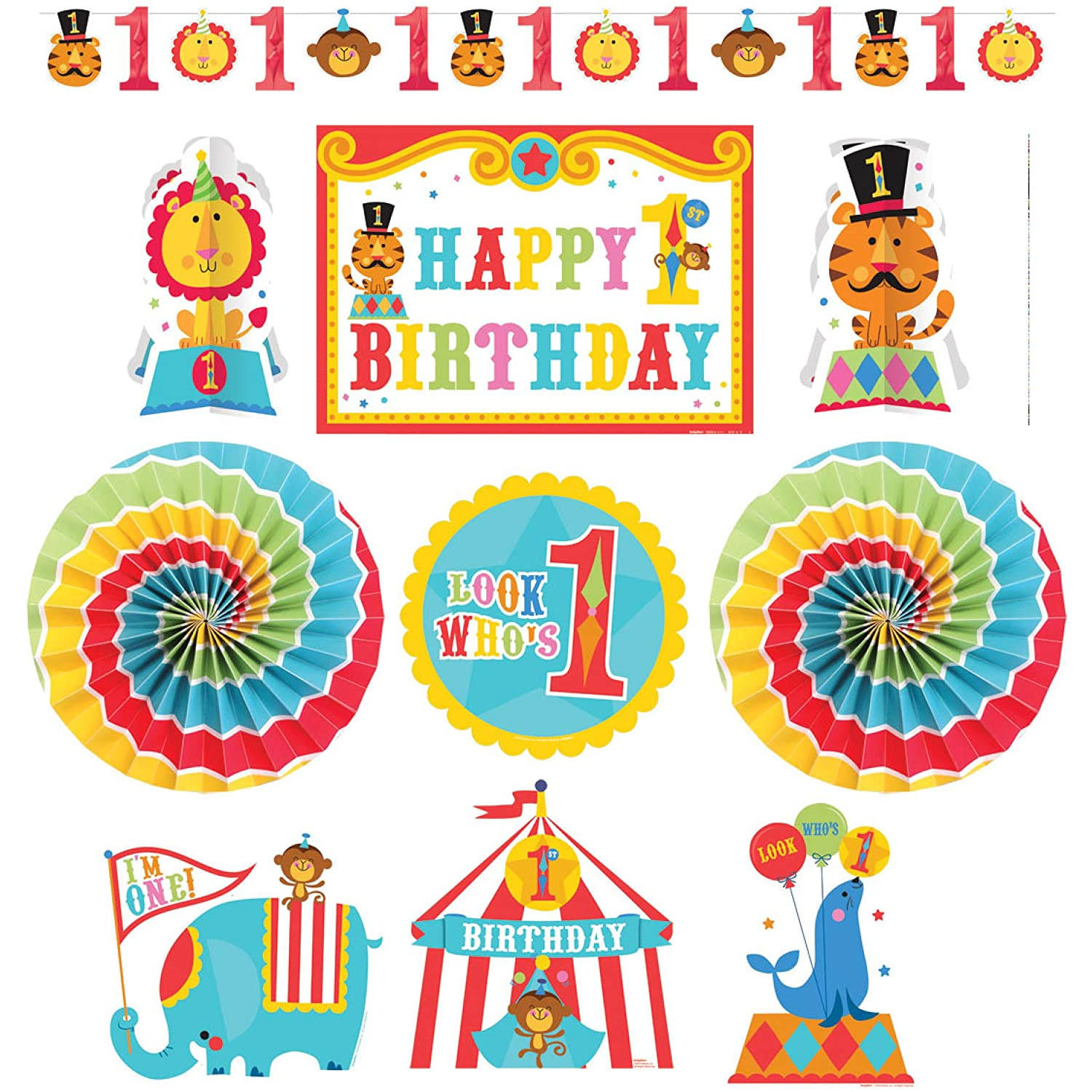 Amazon.com: Fisher Price 1st Birthday Circus Room Decorating Kit (10pc): Toys & Games