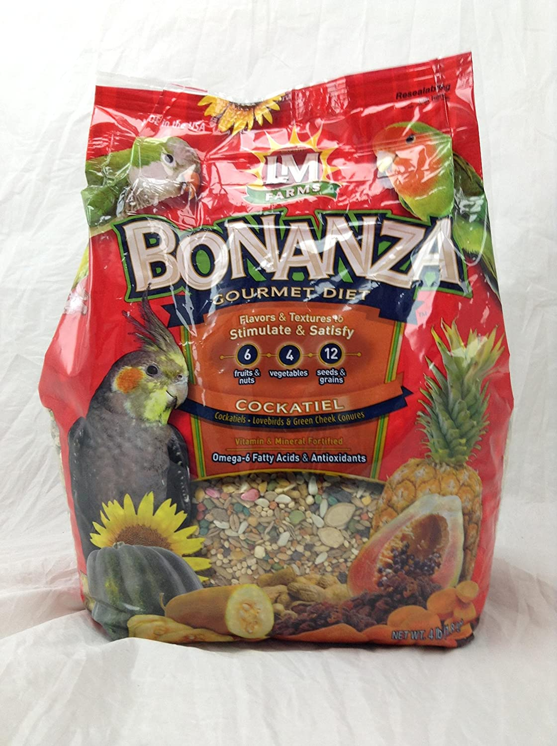 LM Animal Farms Bonanza Gourmet Diet Cockatiel andBird Food