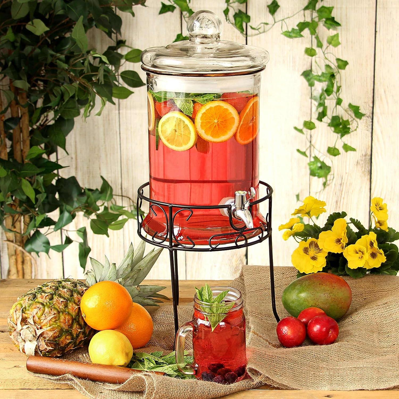 bar@drinkstuff Round Drink Dispenser with Stand 168oz/4.8ltr - x2- Beverage Dispenser, Vintage Beverage Dispensers
