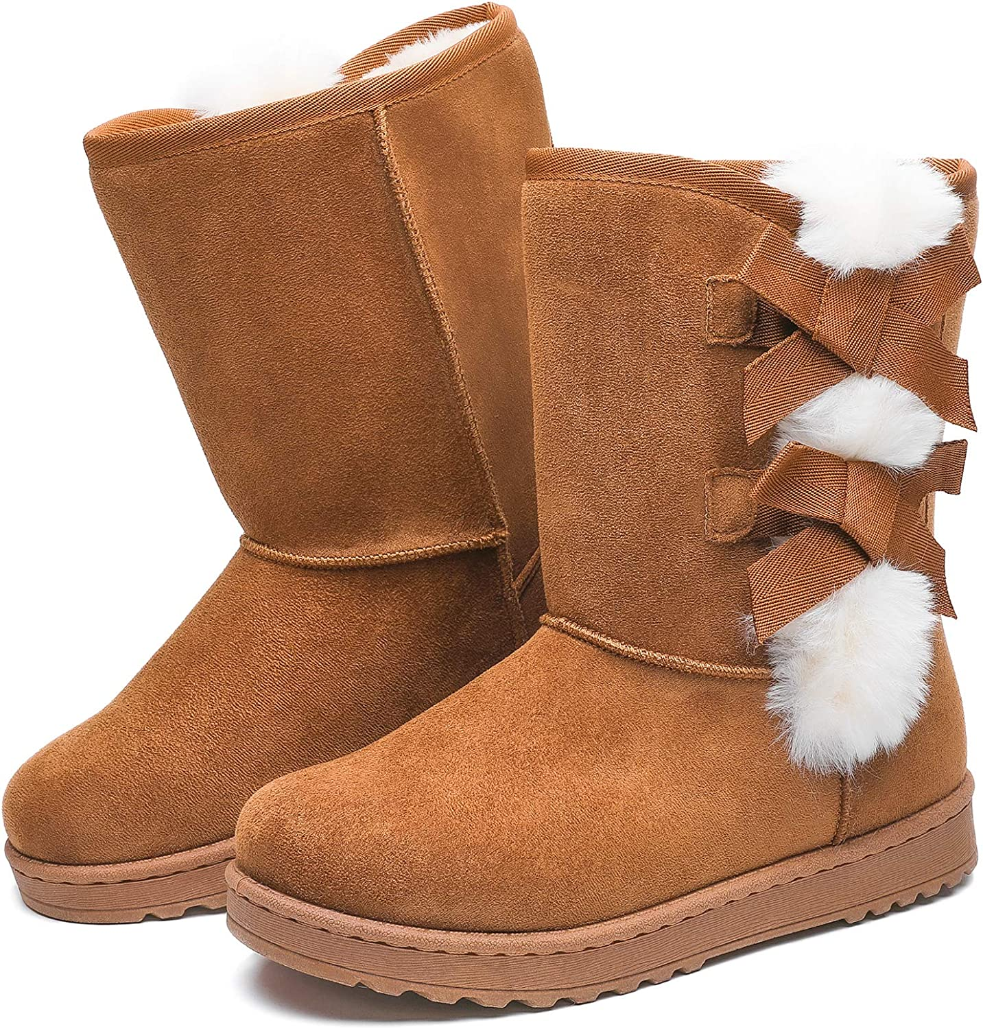 Winter Snow Boots for Women Mid Calf Warm Fur Lined Boots Slip on Fashion Bootie