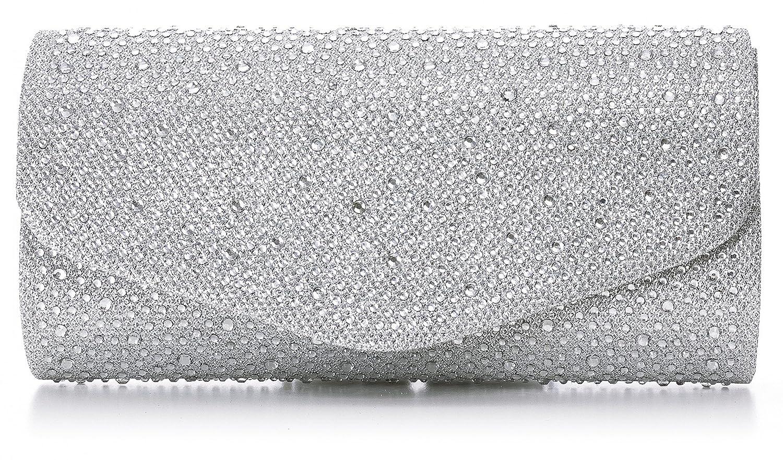 VINCENT PEREZ, Clutch, Abendtaschen, Umhängetaschen, Unterarmtaschen, Strassstein-Dekoration, 23x12x6 cm (B x H x T) Umhängetaschen Farbe:Rosa