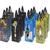 12 pack single bottle wine gift bags vineyard print theme wedding anniversary birthday all