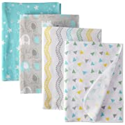 Luvable Friends Flannel Receiving Blanket, 4 Pack, Gray Elephant