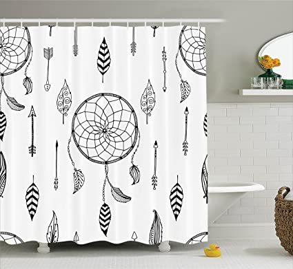 Ambesonne Arrow Shower Curtain Ethnic Anthique Authentic Tribal Dreamcatchers Feathers And Arrows Design Western