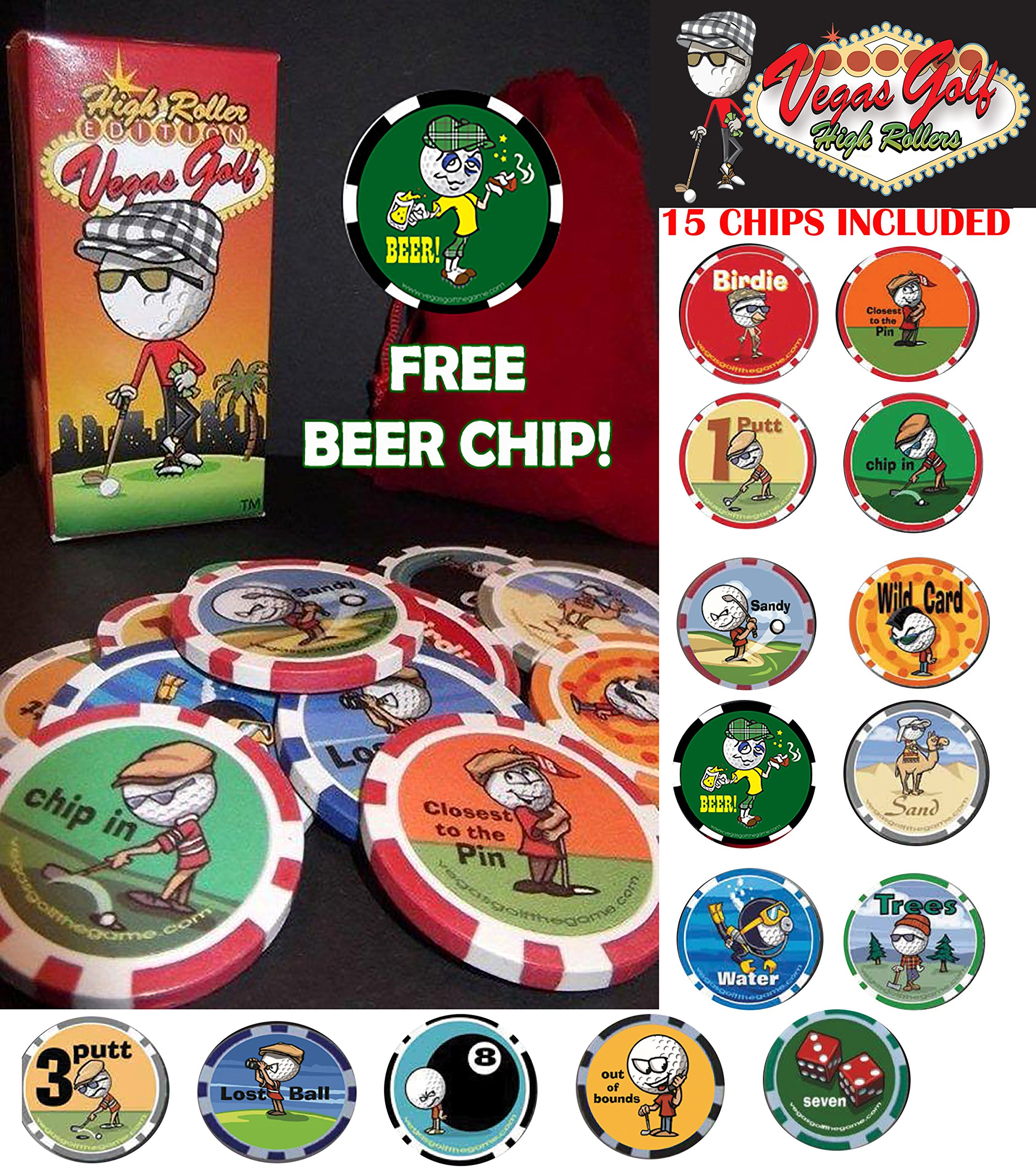 Vegas Golf High Roller Edition-NOW with 15-chips! Now Includes a FREE Beer Chip