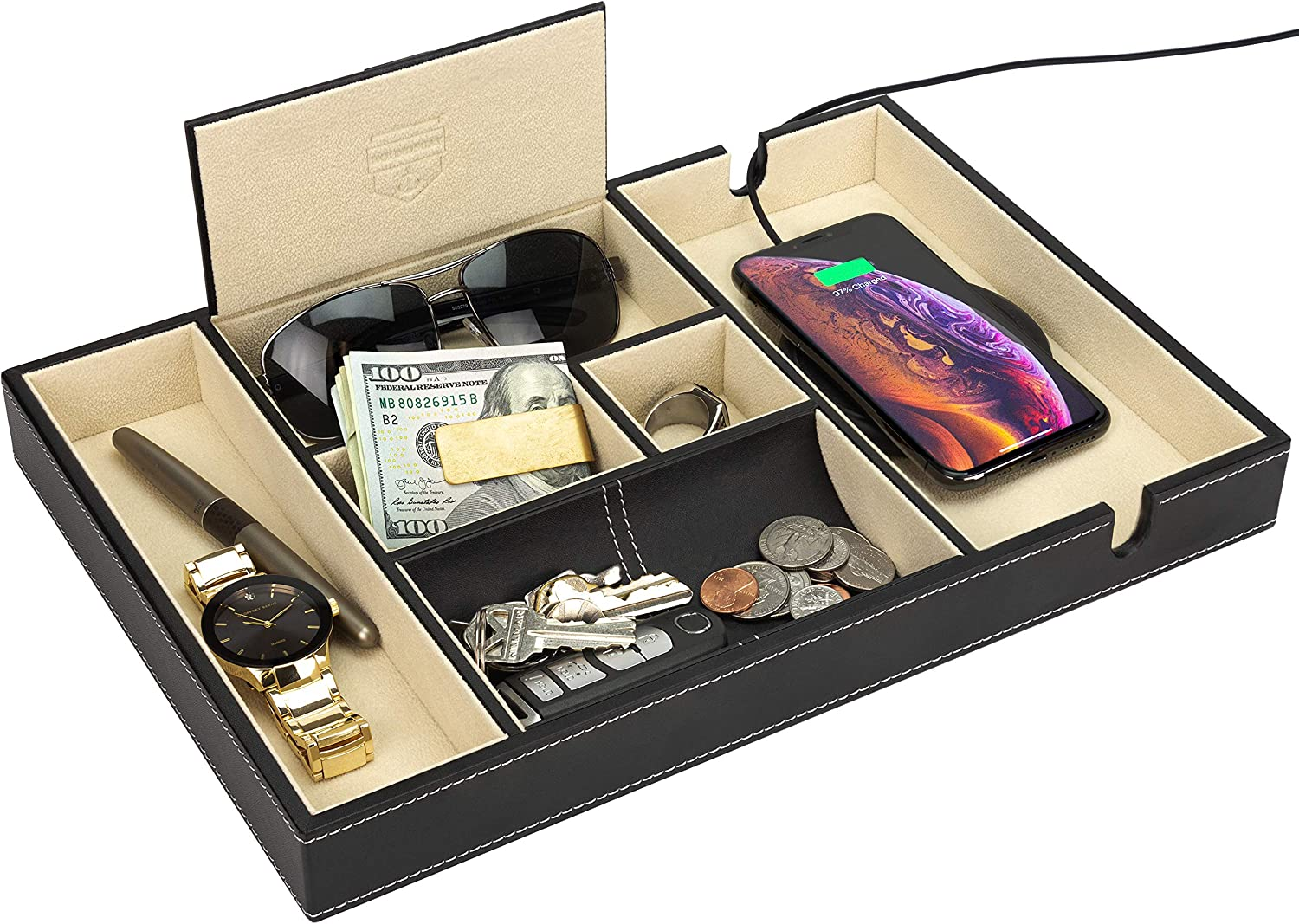 """HOUNDSBAY """"Victory Valet Tray for Men with Large Smartphone Charging Station (Ivory)"""