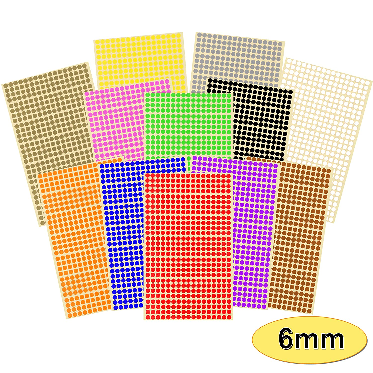 Choice of 12 Colours Best-Selling Pack of 7140 x 6mm 1//4 Inch Round Coloured Easy Peel Self Adhesive Dot Stickers for Colour Coding Calendars 15 Sheets of High Quality Sticky Dots Blue