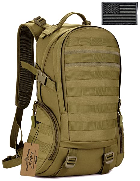 1e6552eada ArcEnCiel Military Tactical Backpack Camouflage Rucksacks Assault Molle Bag  for Men With Patch - Coyote Brown  Amazon.in  Sports