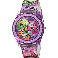 Shopkins Girls' Quartz Watch with Plastic Strap, Purple, 17 (Model: KIN4116)