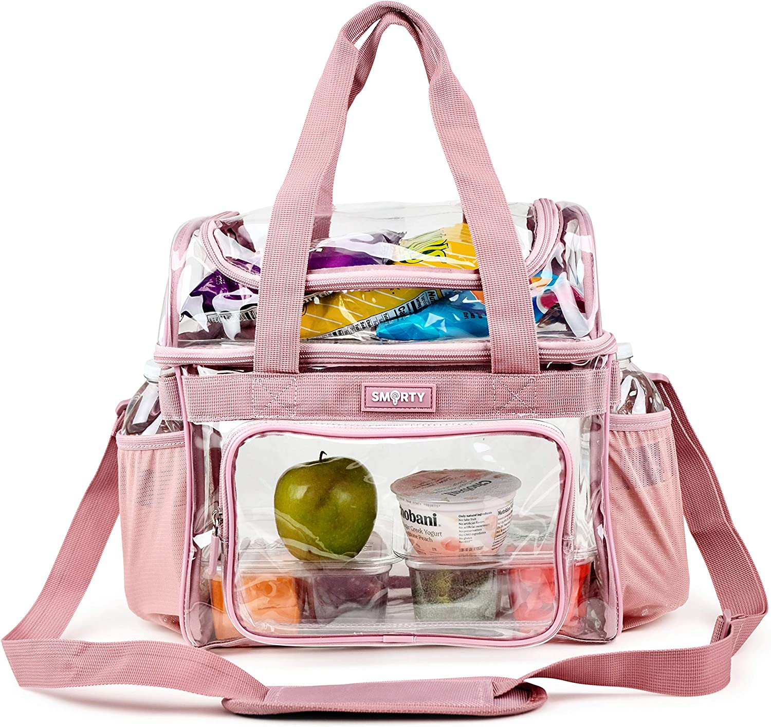 Heavy Duty Clear Lunch Tote Stadium Approved Size Crossbody Diaper Travel Cosmetic Makeup Bag for NFL NCAA PGA NASCAR Games Concerts Corrections Correctional Officers Work Box (Pink, 12 x 6 x 12)