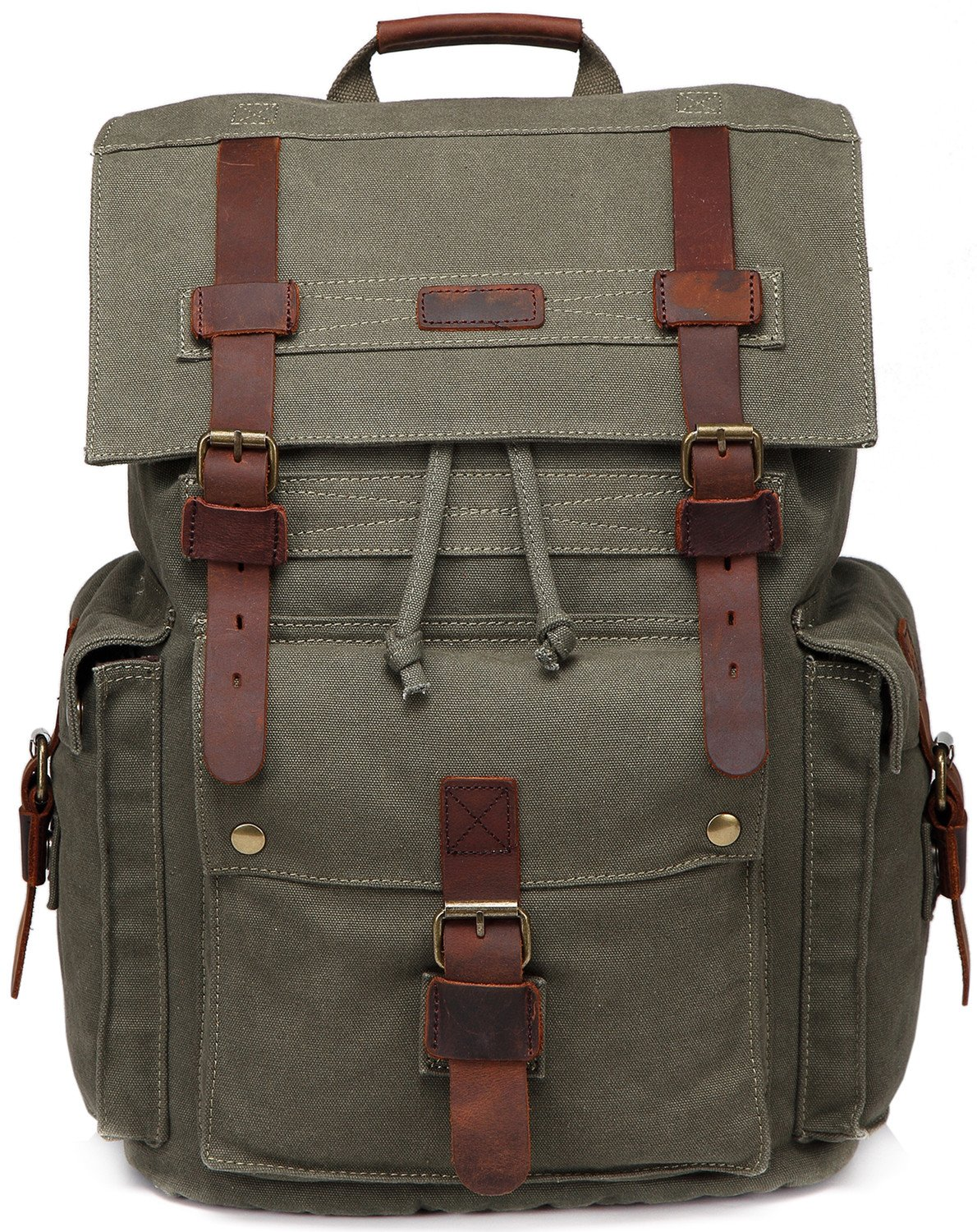 0691e8ff2d Amazon.com  Canvas Laptop Backpack Unisex Vintage Leather School Business  Travel Hiking Daypack Computers Casual Outdoor Rucksack (Army green)  SUPON