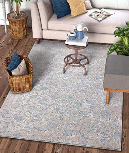 Well Woven Rondo Blue Microfiber High-Low Pile Vintage Abstract Erased 8×10 7 10 x 9 10 Area Rug Modern Floral All Over Oriental Carpet