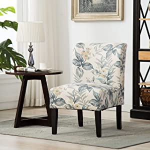 Roundhill Furniture Capa Print abric Armless Contemporary Accent Chair, Blue Leaves